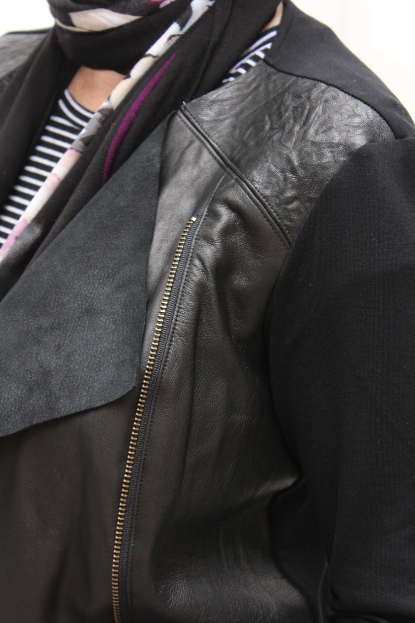 Leather Contrast Moto Jacket