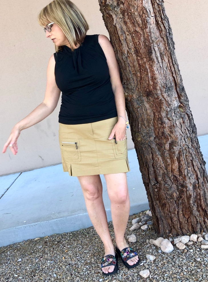 Jamie Sadock tan scooter skirt $5.99 from Savers